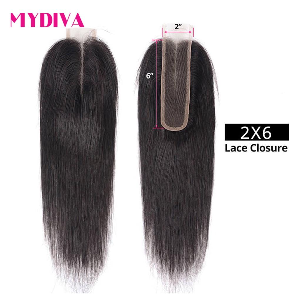 Mydiva Brazilian Straight Human Hair Closure 2x6 Lace Closure 100% Human Hair With Baby Hair 8''-20'' Remy Hair Free Shipping
