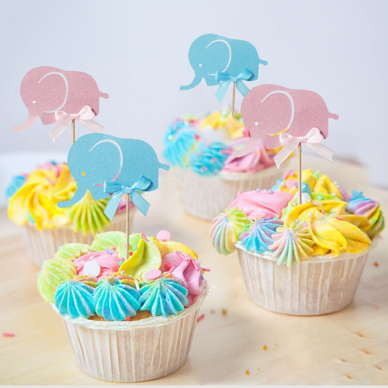 Pleasant 10Pcs Blue Pink Elephant Cake Toppers Cupcake Flag For Baby Shower Birthday Cards Printable Trancafe Filternl