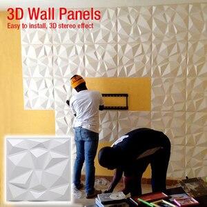 50x50 см 3D Художественная стеновая панель, Геометрическая огранка, алмазная деревянная резная настенная наклейка, 3D фон, настенная наклейка, д...