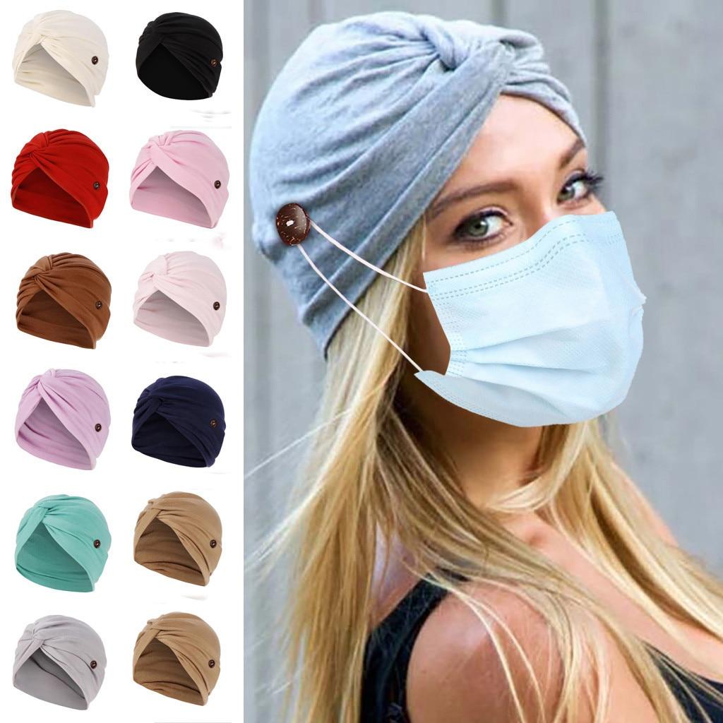 Mulher muçulmana lado botão para máscara pendurado turbante modal quimio chapéu cabeça envoltório boné para pacientes com câncer bonnets para mulher