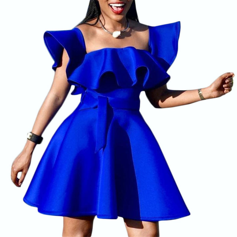 Royal Blue Short Mini Cocktail Dresses Short Ruffle Sleeves Women Homecoming Sexy A Line High Quality Short Formal Party Gown
