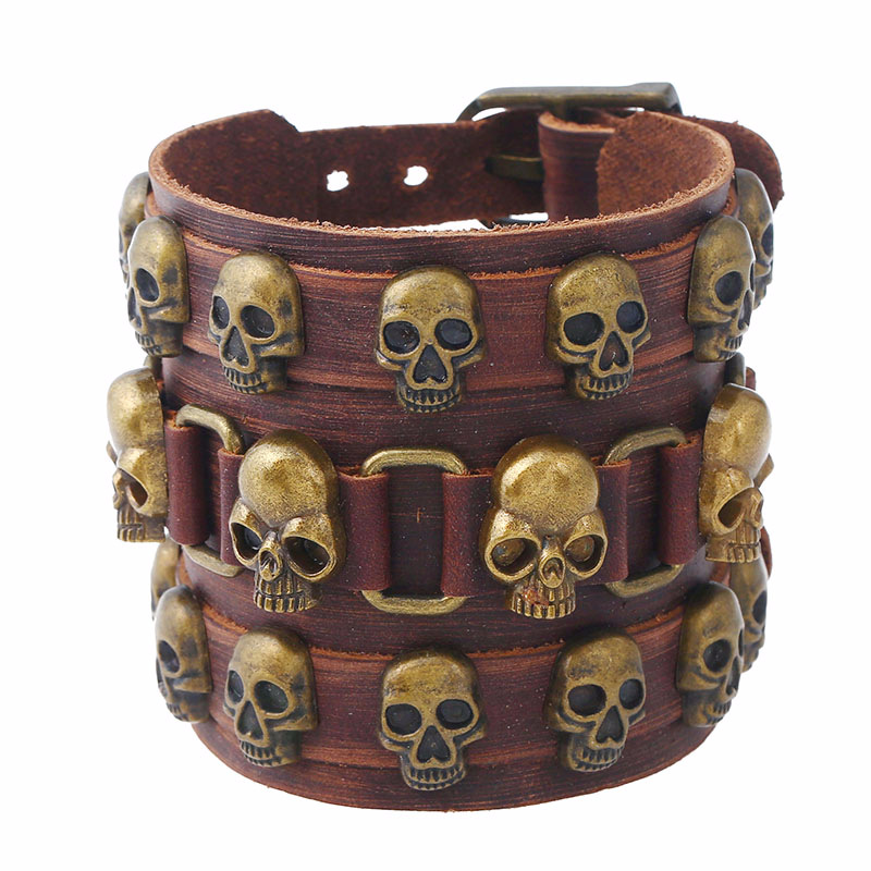Bracelet Punk Men s Wide Leather Exaggerated Skull Multilayer Simple and Elegant Delicate Accessories Individual High