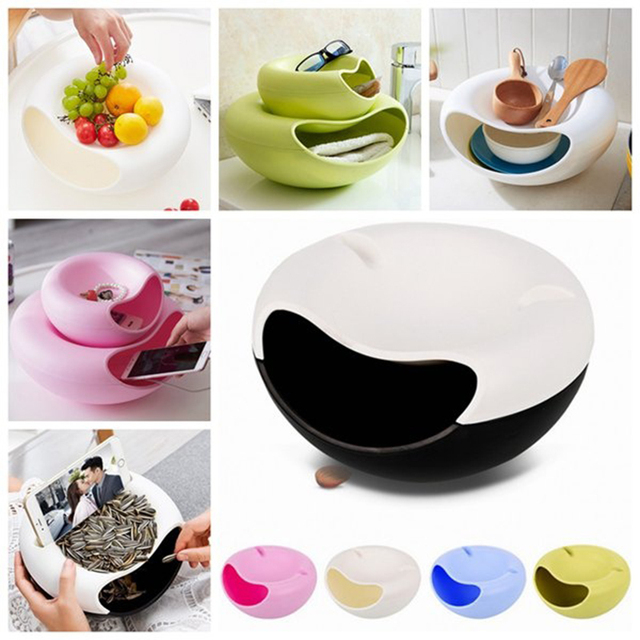 Double Layer Container box Creative Bowl Dish Layer Dry Fruit Snacks Seeds Containers Phone Holder Plastic Storage Box