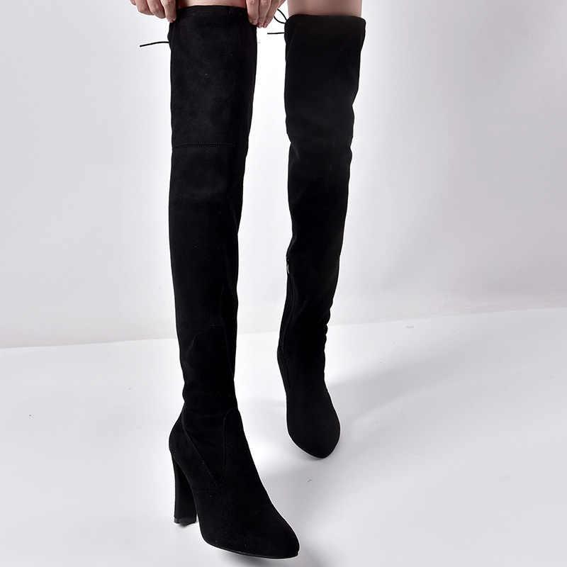 2019 boyutu 35-43 yeni ayakkabı kadın çizmeler siyah diz çizmeler üzerinde seksi kadın sonbahar kış bayan uyluk yüksek topuklu çizmeler patik