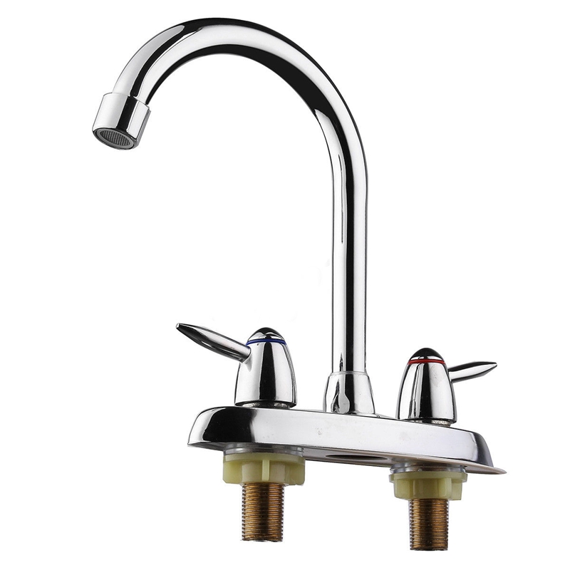 Swivel Bathroom Kitchen Faucet Chrome Two Handle Hot Cold Sink Mixer Tap Sprayer