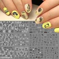 12 dessins russe lettre eau ongles autocollants Sexy fille fleur feuille curseurs pour ongles enveloppes manucure décor tatouage LAA1513-1524