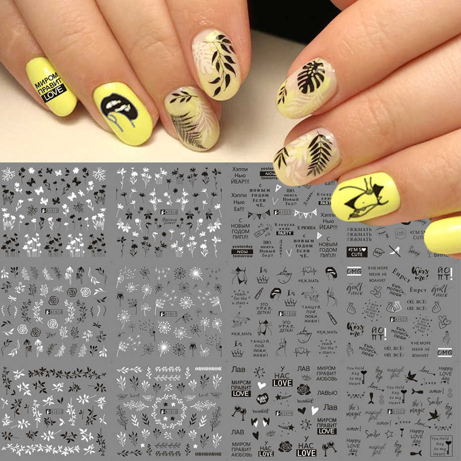 <font><b>12</b></font> Designs Russian Letter Water Nail Stickers <font><b>Sexy</b></font> <font><b>Girl</b></font> Flower Leaf Sliders For Nail Wraps Manicure Decor Tattoo LAA1513-1524 image