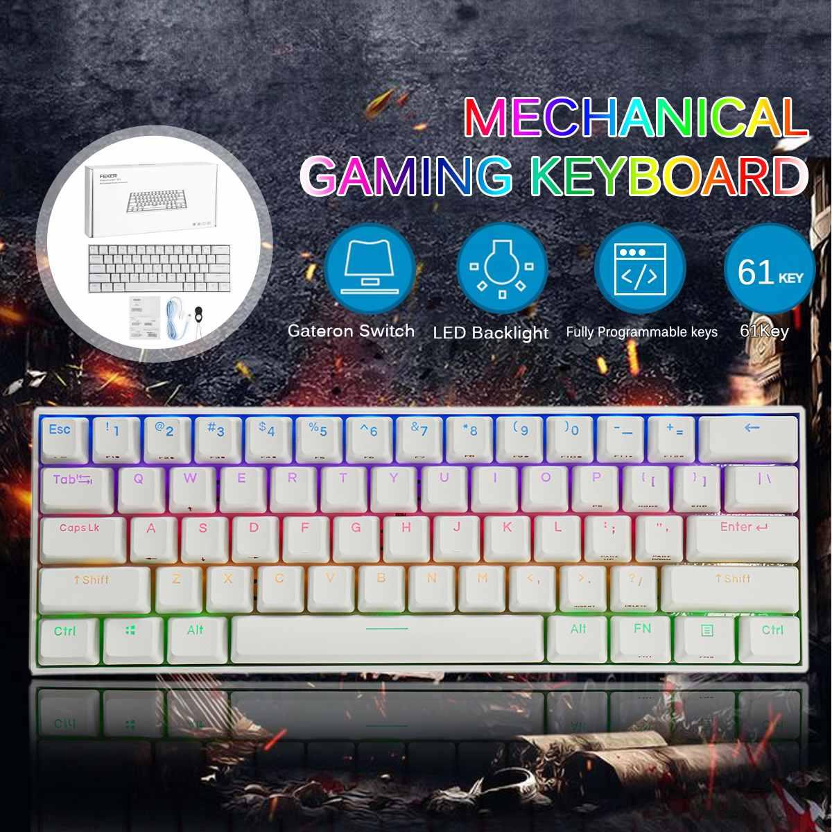 FEKER 61Keys Bluetooth5.0 Type-C  Dual Mode Wired Gateron Switch Mechanical Keyboard 1.68 Million RGB Backlit Gaming Keyboard