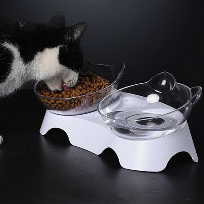 Миска для домашних животных, прозрачная прочная двойная миска с подставкой, товары для кошек, кормушка для собак