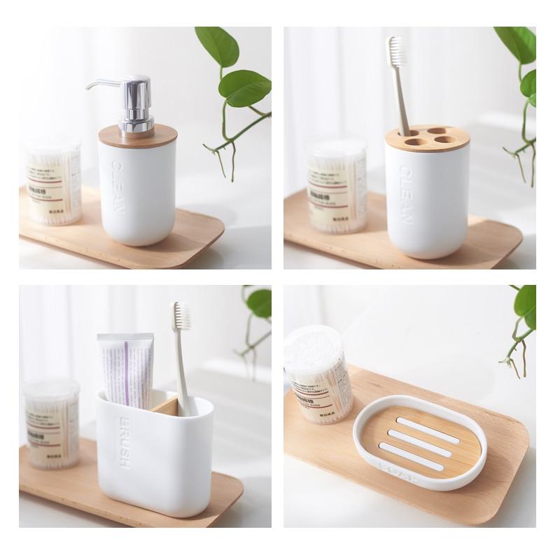 Environmentally friendly bamboo bathroom accessories set with soap dispenser bath toothbrush holder toilet brush soap holder