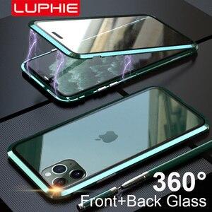 Image 1 - Luphie Enveloppement Complet pour iphone 12 Pro Max mini 11 Xs 9H Verre Trempé Téléphone Magnétique Cas X SE 7 8 Plus Xr Couvercle Magnétique