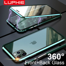 Luphie caso envoltório completo para iphone 12 pro max caso mini 11 xs 9h vidro temperado telefone magnético casos x se 7 8 plus xr ímã capa