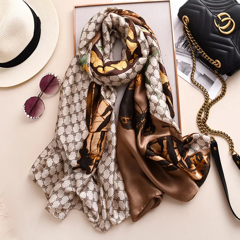 luxury brand Women Silk scarf Beach Shawl pareo foulard summer Wrap female scarves stoles bandanna ladies muffer free shipping