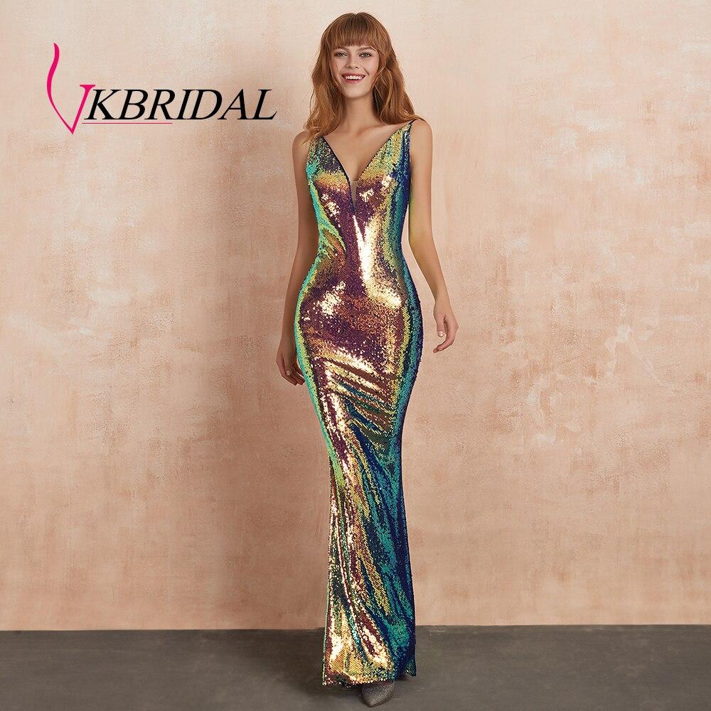 VKBRIDAL Радужное вечернее платье с блестками, длинное сексуальное платье с открытой спиной и глубоким v образным вырезом, вечерние платья руса