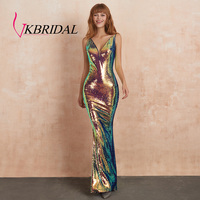VKBRIDAL Iridescent Sequin Evening Dresses Long Sexy Backless Plunging V Neck Mermaid Dress Party Vestidos de Festa Longo