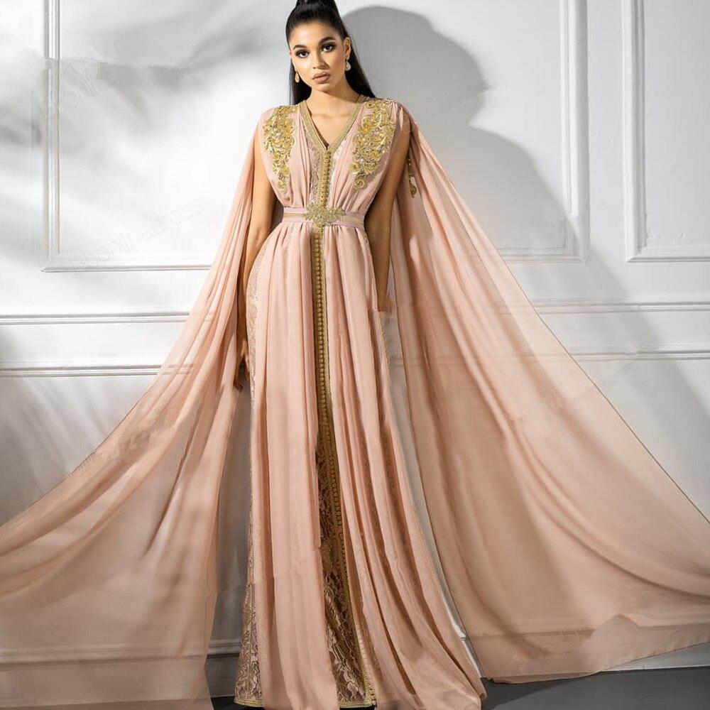 Pink Muslim Evening Dresses A-line V-neck Chiffon Appliques Beaded Moroccan Kaftan Islamic Dubai Saudi Arabic Long Evening Gown