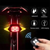 Luz trasera de bicicleta, intermitentes, Control remoto inalámbrico, luz trasera de bicicleta de montaña, recargable vía USB