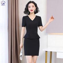 Preto moda profissional vestido de verão feminino temperamento vestido fino vestidos femininos verão 2020 vestido preto