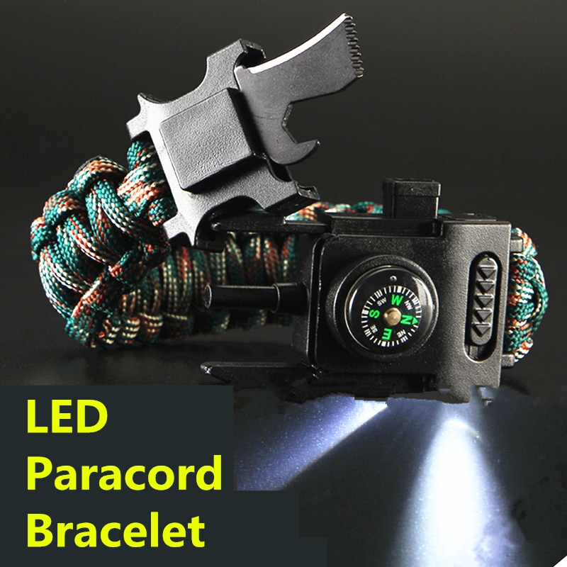 Led Lights Paracord 550 4mm Rope Bracelet Multi Used Parachute Cord Camping Hiking Fishing Tour First Aid Kits Outdoor Tools