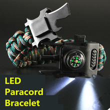Led Lights Paracord 550 4mm Rope Bracelet Multi Used Parachute Cord Camping Hiking Fishing Tour First Aid Kits Outdoor Tools(China)