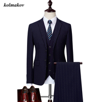 (Jacket Vest And Pants) New Arrival Style Men Boutique Stripe Suits Dress High Quality Single Breasted Men's Three piece Suits