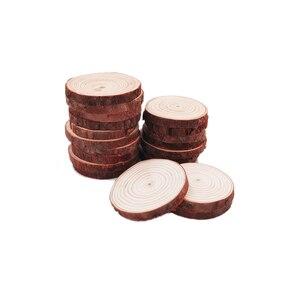 Image 5 - 100pcs 5 6cm fette di legno naturale lastre rustiche rotonde per centrotavola matrimonio tavolo festa di compleanno Baby Shower decorazione artigianale