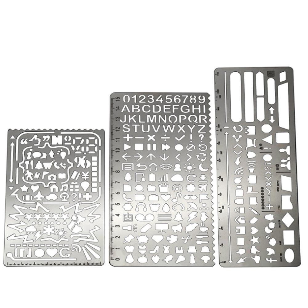 Multifunctional Stainless Steel Hollow Ruler Cat Geometric Figure Drawing Stencils Templates Metal Ruler Diy Tool Diary Template