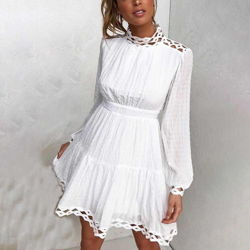 Conmoto elegant white lace dresses woman fall winter party dress hollow out  long sleeve ruffle vintage festa dresses vestidos