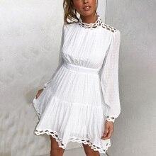 Conmoto zarif beyaz dantel elbiseler kadın sonbahar kış parti elbise hollow out uzun kollu fırfır vintage dresses elbiseler vestidos