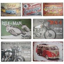 Estanho sinal placa rota do carro 66 ônibus garagem posto de gasolina motocicleta arte da parede cartaz decalques placa pintura decoração para casa 20*30cm