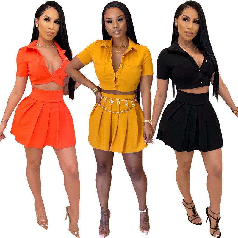 Women's Solid Color Fashion Short Sleeve Shirt + Mini  Casual Beach Party Skirt Cute Short Two Piece Set Wholesale Dropshpping