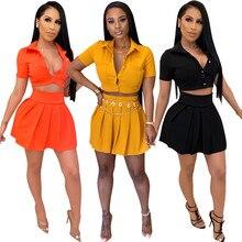 Women's Solid Color Fashion Short Sleeve Shirt + Mini Casual