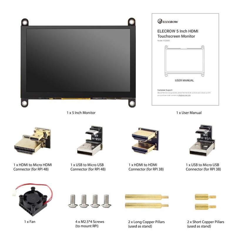 Купить elecrow новой версии 5 дюймов портативный монитор 800x480p hd