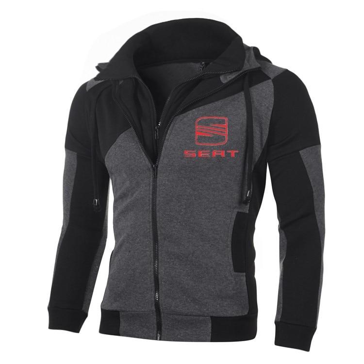 SEAT Logo Hoodies Jacket Double Zipper Hoodie Cotton Pullover Sports Wear Suzuki Sweatshirts Coat