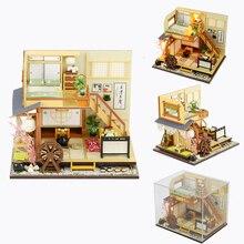 Кукольный дом Diy Миниатюрный 3D Деревянный миниатюрный кукольный домик японский стиль мебель строительные наборы игрушки для детей рождественские подарки