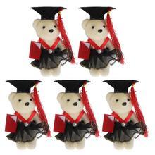 5Pcs Graduation Bear Dolls Flower Bouquet Material Graduation Season Decoration