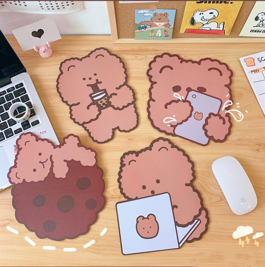 18x19cm Lovely Kawaii Cute Bear Mouse Pad Desk Big Mat Pads Waterproof Office Home Decoration Cup Mat Antislip Girls Boys Room