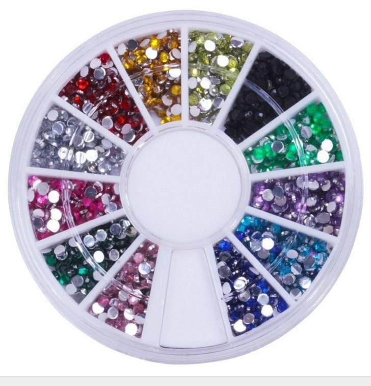 Manicure 12 Color Man-made Diamond Disc Acrylic Diamond Jewelry Box Hardcover DIY Stickers Nail Light Diamond Flat Mobile Phone