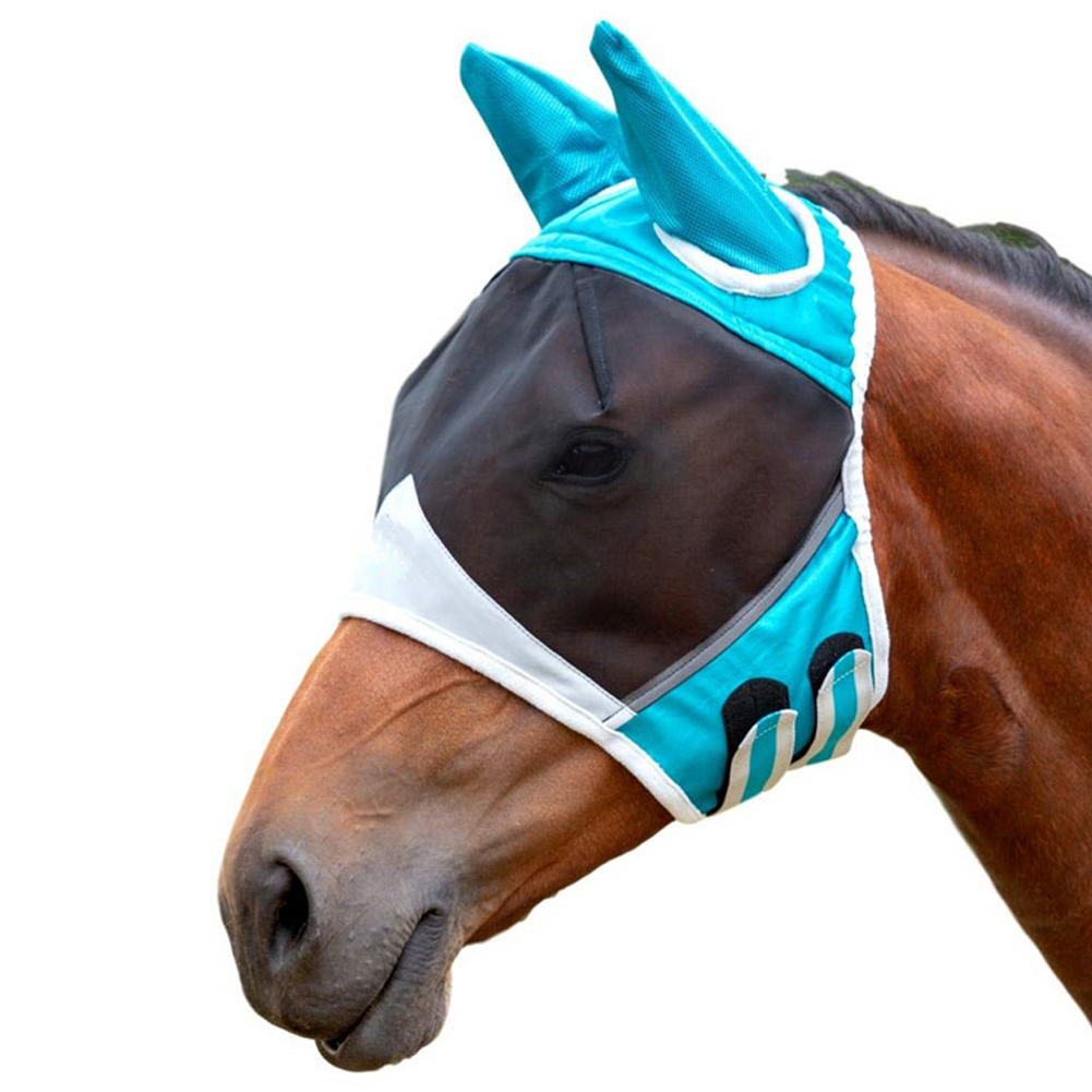 Anti Mosquito Shield Horse Mask Mesh Fly Ear Ergonomics Anti-UV Half Face Protective Cover Summer Pet Supplies Insects Eye