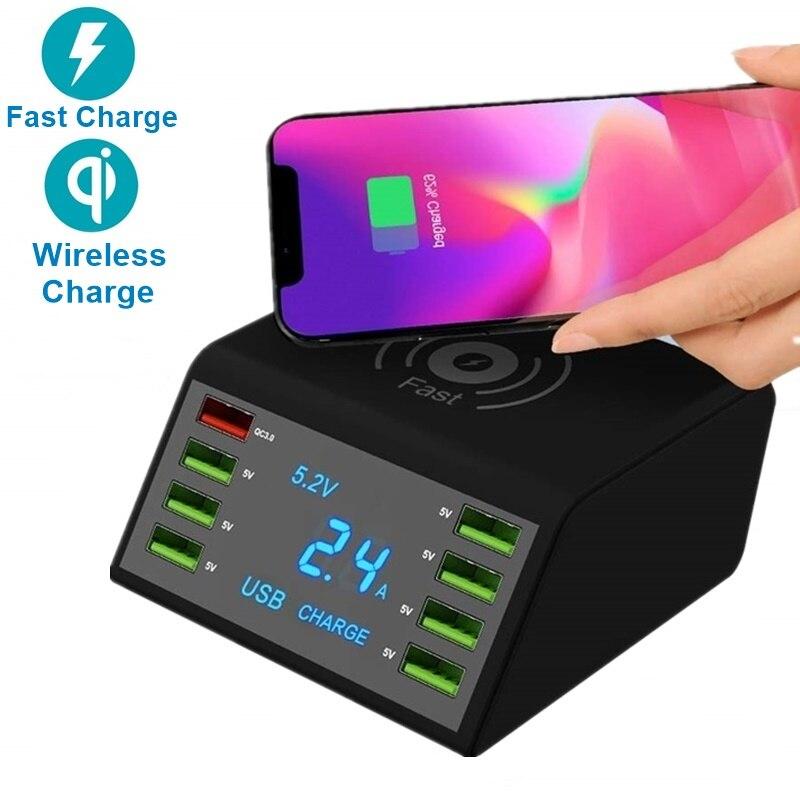 Nouveau Multi 8 ports Lcd USB Qi chargeur sans fil pour Iphone X 8 Plus Charge rapide 3.0 chargeur rapide pour Samsung S10 S9 S8 Xiao mi 9