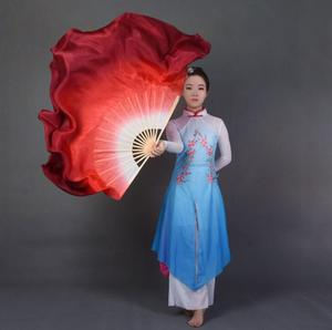 Dual Color Real Silk Bamboo Folk Dance Fan Chinese Handmade Belly Dancing Fans Folk Art Fan White Red Gradient Assorted Size(China)