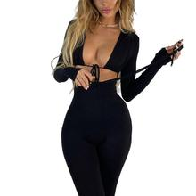 2021 Woman Autumn Fashion Solid Color Jumpsuits V-neck Bandage Hollow Out Long Sleeves Bodycon Slim Long Pants Rompers