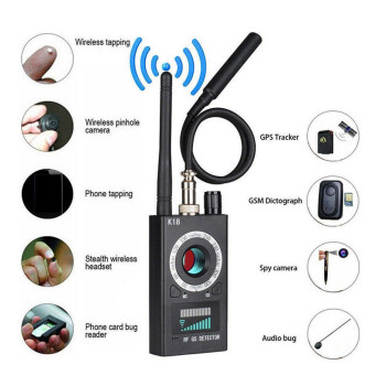 Anti Spy Wireless RF Signal Detector Camera GSM Audio Error Finder GPS Signal Lens RF Locator Tracker Detection 1MHZ-6.5GHZ K18 1