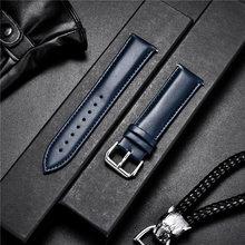 Clássico couro de bezerro pulseiras de relógio material macio 14mm 16mm 18mm 20mm 22mm pulseira de pulso acessórios de relógio