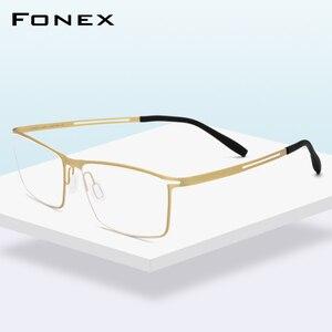 Image 1 - FONEX B monture de lunettes en titane pour hommes, verres Semi sans bords, ultralégers, pour myopie, monture optique, verres sans vis, 874