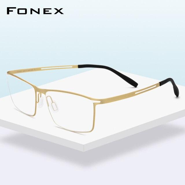 FONEX B monture de lunettes en titane pour hommes, verres Semi sans bords, ultralégers, pour myopie, monture optique, verres sans vis, 874