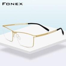 FONEX B tytanowa ramka do okularów mężczyźni Semi Rimless okulary korekcyjne Ultralight krótkowzroczność oprawki optyczne bezśrubowe okulary 874