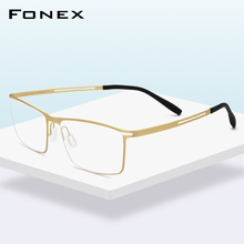Fonex b titânio óculos quadro homem semi sem aro prescrição óculos ultraleve miopia óptica quadro screwless eyewear 874