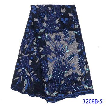 2020 Latest African Lace High Quality African French Net Tulle Lace Fabric With Sequins Embroidery For African Wedding AMY3208B