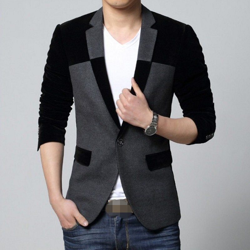 2020 New Winter Mens Blazer Fashion Mens Slim Fit Splice Long Sleeve Suit Coats Business Casual Single Button Blazer M-4XL